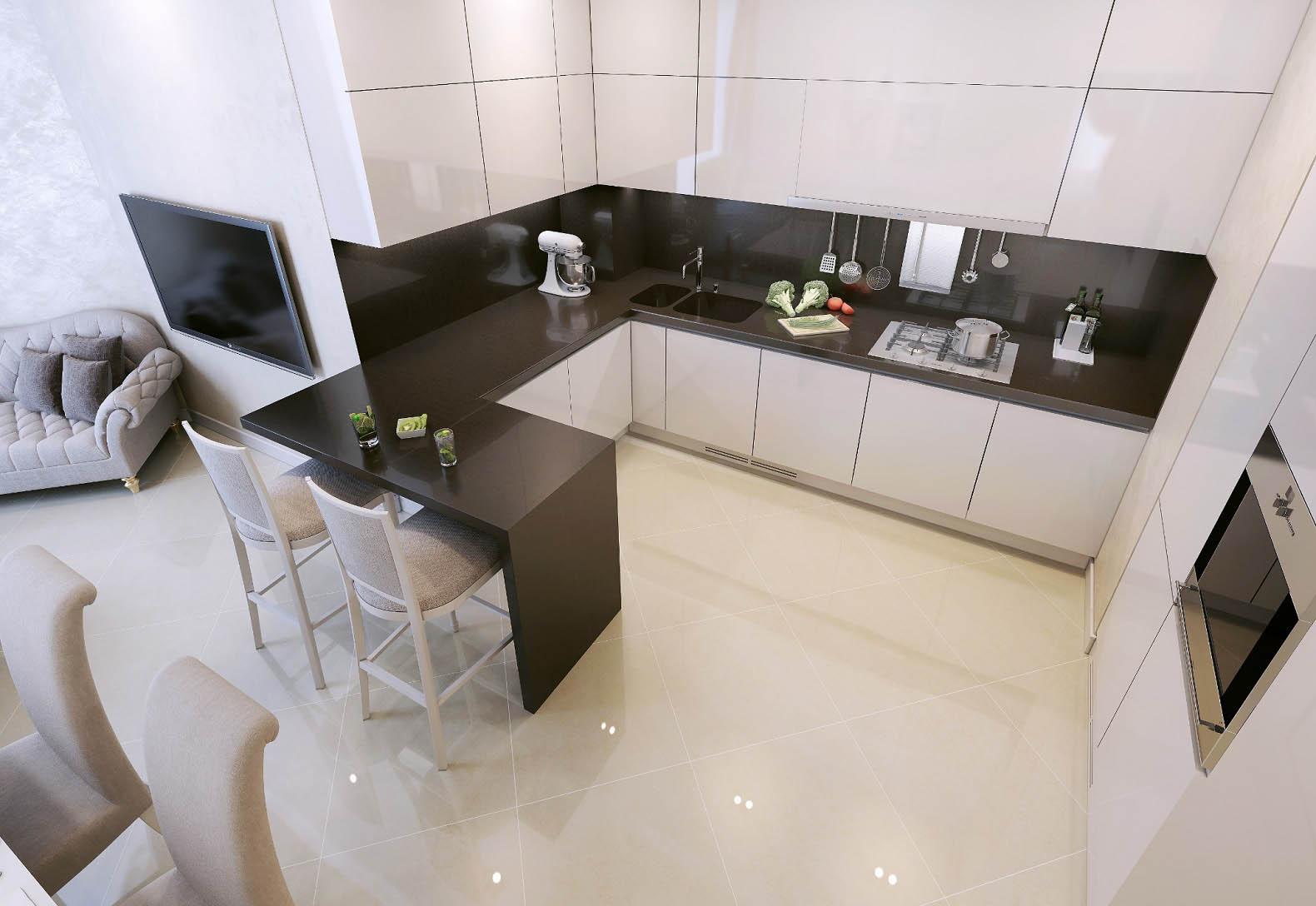 cucina con angolo bar progettazione